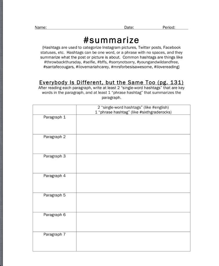 summarize – Reading Summary Worksheet